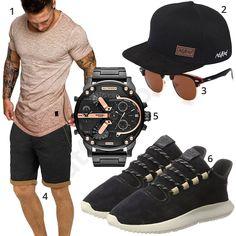 Sommeroutfit für Männer mit beigem Amaci&Sons T-Shirt, schwarzer Nebelkind Cap, Clubmaster Sonnenbrille, Blend Shorts, Diesel XXL-Herrenarmbanduhr und Adidas Tubular Schuhen.