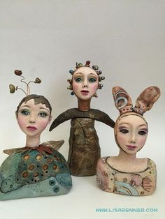 Examples of the workshop Lisa Renner will be teaching in Albuquerque, NM in September 2016 titled About Face. Contact me through my website for more information. Paper Mache Sculpture, Pottery Sculpture, Sculpture Art, Ceramic Sculptures, Ceramic Figures, Clay Figures, Ceramic Art, Ceramic Bowls, Paper Clay