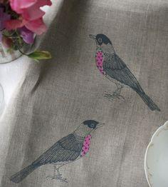 Bird Printed Linen Tea Towel | Home Kitchen & Pantry | Jen Hewett Studio