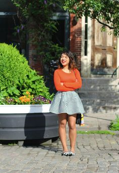 This is so cute! I love the matching stripes in the skirt and flats.
