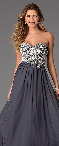 Cute Chiffon Light Slate Gray Princess Strapless Natural Prom Dress Sale klkdresses12520xdf #longdress #promdress