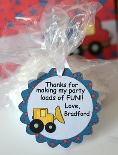 Dump Truck Birthday Party Favor Tags by bcpaperdesigns on Etsy