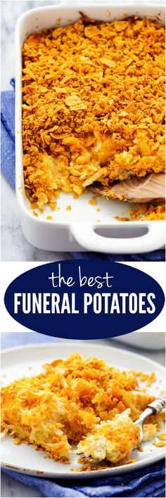 The Best Funeral Potatoes - A cheesy potato casserole full of melted cheese, sour cream, onions, and garlic with a crunchy top. This is full of amazing flavor and will be the star of the dinner table!