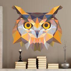 Tête hibou origami - Stickers Muraux #origami #hibou #sticker #muraux #décoration #WebStickersMuraux
