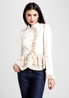White ruffle jacket. :)