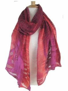 """Looking for a statement scarf that can be worn year round AND can also be a wrap? #Chicos discontinued wearable Art  Burnout #Devore Scarf Wrap is gleaming and elegant yet featherweight.  Pink/Orange 18x73"""""""