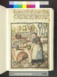 1582 Cook Pots, pans, tongs, sausage, broom, apron, kitchen shelf  Die Hausbücher der Nürnberger Zwölfbrüderstiftungen