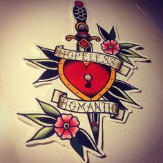 #flash #tattooflash #tattooart #tattoo #tattoos #art #tradition #traditional #color #heart #dagger #romantic #flower #oldschool