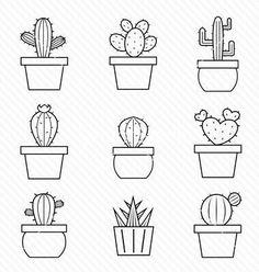 I love cactus doodles. I love cactus doodles. Simple Illustration, Kaktus Illustration, Illustration Flower, Doodle Drawings, Doodle Art, Cute Drawings Tumblr, Cactus Vector, Cactus Drawing, Succulent Drawings