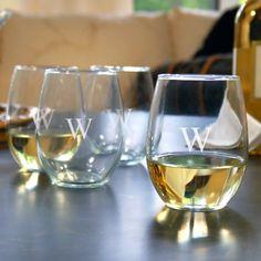 Monogrammed Stemless Wine Glasses Gift Set Set of 4 $48