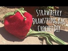 Strawberry Drawstring Bag Crochet DIY // Mad Little Crafter // Tutorial - YouTube