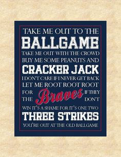 Atlanta Braves Baseball Subway Art  Take Me by PunkalunkPrintables, $10.00