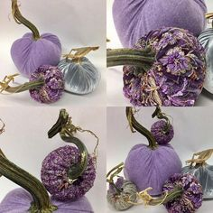 I found some hidden treasures today for a custom order. The purple cashmere is a sneak peak for next year. I'm borrowing the beaded from Yvette's desk. She's a purple lover too. Velvet Pumpkins, Fabric Pumpkins, Fall Pumpkins, Halloween Pumpkins, Fall Halloween, Halloween Crafts, Halloween Decorations, Pumpkin Art, Pumpkin Crafts