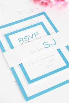 Gorgeous pool blue wedding invitations with bold borders. Modern wedding invitations, blue wedding invitations, unique wedding invitations. #invitations #blue #modernwedding http://www.shineweddinginvitations.com/wedding-invitations/modern-luxe-wedding-invitations