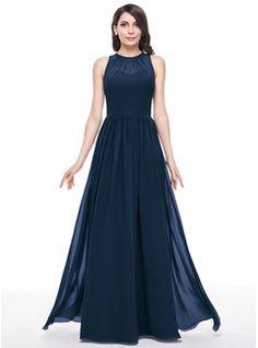 A-Line/Princess Scoop Neck Floor-Length Ruffle Zipper Up Regular Straps Sleeveless No Other Colors Spring Summer Fall General Plus Chiffon Bridesmaid Dress
