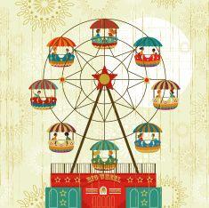 Big Wheel fair vector art illustration :: ferris wheel, amusement park, carnival, fair