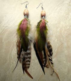 Long Feather Earrings  Natural Colorful Beaded by peacefrogdesigns, $24.00