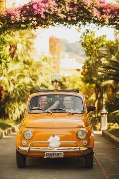 A Yellow Fiat 500 And Maids in twobirds Olive Green For A Relaxed Italian Wedding Wedding Getaway Car, Destination Wedding, Wedding Planning, Sorrento Weddings, Wedding Blog, Wedding Photos, Wedding Cars, Wedding Ideas, Wedding Transportation