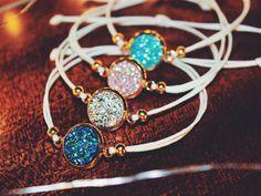 DRUZY BRACELETS GEMSTONE blue turquoise pink silver adjustable boho bohemian asian elegant jewelry perfect gift for girlfriend handmade