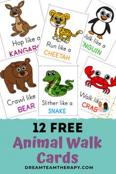Free animal walk cards for kids of all ages! Perfect for increasing strength, balance, and coordination. Set of 12 cards. Animal Activities For Kids, Zoo Activities, Occupational Therapy Activities, Gross Motor Activities, Gross Motor Skills, Animals For Kids, Preschool Activities, Physical Activities, Indoor Activities