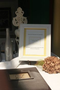 Part of Guest book table Frame explaining Rub-off Lottery Tickets for Guests