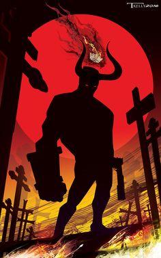 Hellboy Cross Road by artist Tom Kelly on the web at TomKellyART.deviantart.com on @DeviantArt