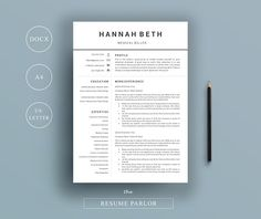 Resume 4 Page   A4 + US Letter Sizes by The Resume Parlor on @creativemarket
