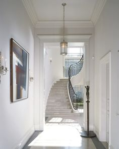 Staircase - Discover home design ideas, furniture, browse photos and plan projects at HG Design Ideas - connecting homeowners with the latest trends in home design & remodeling Foyer Staircase, White Staircase, Entry Hallway, Spiral Staircase, Entrance Hall, Interior And Exterior, Interior Design, European Home Decor, House On A Hill