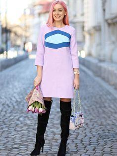 Purple Round Neck Color Block Dress -SheIn(Sheinside)