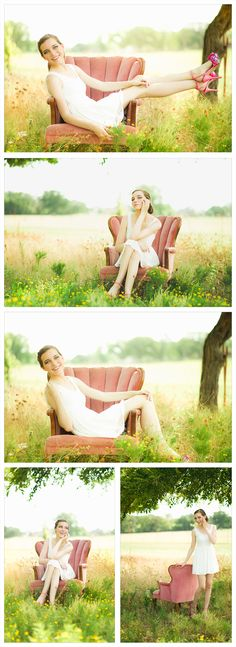 Senior Portraits, Natural light photography, Senior Female Photography, Pink Chair, Furniture in a field, Young model
