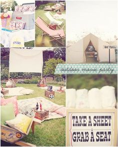 Fun backyard movie party idea.  Going to do this for sure as soon as the weather is warm enough and before mosquito season!