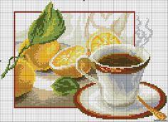 GRAFICOS PUNTO DE CRUZ GRATIS : COCINA(48) / herbata z cytryną 1/2