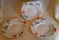 "Set of 3 Mikasa 6 1/4"" Saucer Plate Lilliette /  Floral Splendor FREE SHIPPING"