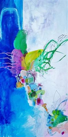 """Original art for sale at UGallery.com   Garden by the Sea by Autumn Rose   $900   mixed media artwork   36"""" h x 18"""" w"""