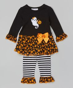 Look at this #zulilyfind! Black Ghost Top & Ruffle Leggings - Infant, Toddler & Girls #zulilyfinds