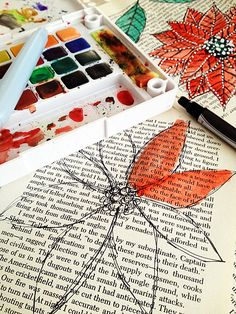 Alisa Burke... Inspiration... watercolor over book pages.