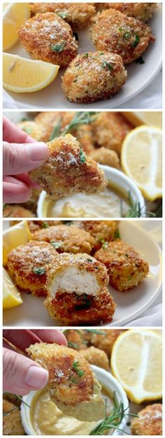 Rosemary Parmesan Chicken Nuggets - SO flavorful!