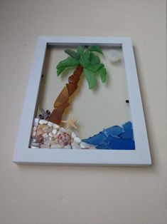 Your place to buy and sell all things handmade Sea Glass Crafts, Sea Glass Art, Ocean Turtle, Mermaid Nursery, Painted Shells, Shell Art, Nature Crafts, Palm Trees, Seashells