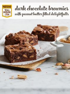 Dark Chocolate Brownies with Peanut Butter Filled Delightfulls