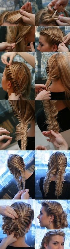 This actually very easy all you do is do a fish tail braid on both sides like pigtails then you take some of the hair off of two braids to make it kind of lose and formal an then you twirl it up the way you want and then pin it up with bobby pins.