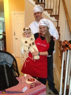 Amy: The whole family got in on it, including the dogs! My husband and I were the chef's (Momma Mia & Poppa Pia), our two dogs were the Bottle of Red...