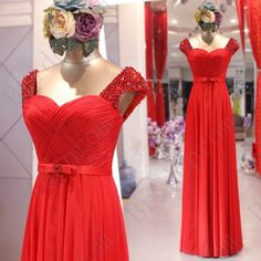 New Style Shoulders Cap Sleeve Chiffon Long Prom Dress With Bowknot