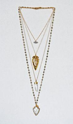 gray rutilated quartz arrowhead necklace | Kei Jewelry