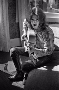 Eric Clapton playing guitar in Jim Marshall's apartment on Union Street, August 1967.-Jim Marshall