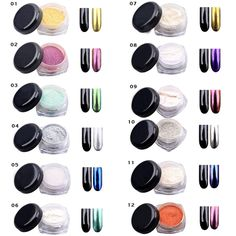 Features: can match with any background, can be a sing le coating ,no grainy ,reflective Glimmer mirror ,the effect will be different in different background color. 12 COLORS Glitter Mirror Chrome Effect Dust Magic Shimmer Nail Art Powder 2g/Box.