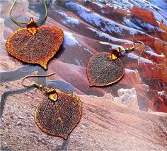 Real Leaf Jewelry, Aspen Leaves, Necklace and Earrings, Iridescent Copper by Natures Leaves. $29.95, via Etsy.