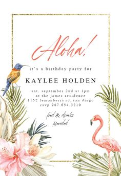Aloha to you - Birthday Invitation #invitations #printable #diy #template #birthday #party Free Wedding Invitations, Birthday Invitation Templates, Gift Registry, It's Your Birthday, Rsvp, Create Yourself, Printable, Party, Diy