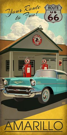Retro Cars Illustration Vintage Travel Posters 39 New Ideas Car Posters, Poster S, Vintage Advertisements, Vintage Ads, Route 66 Road Trip, Historic Route 66, Old Gas Stations, Car Illustration, Vintage Travel Posters