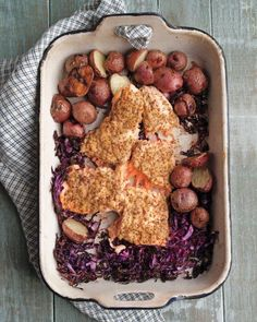 One Pot Meal-- Salmon, Red Cabbage, and New Potatoes