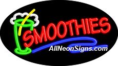 """Smoothies Flashing Neon Sign-ANSAR14075  Dimensions: 17""""H x 30""""L x 3""""D  Custom colors ship in 5-7 business days  110 volt flasher transformer  Cool, Quiet, and Energy Efficient  Hardware & chain are included  Comes standard with 6' power cord  Indoor use only  1 Year Warranty/electrical components  1 Year Warranty/standard transformers."""